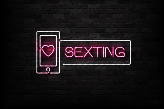 Vector realistic isolated neon sign of Sexting logo for decoration and covering on the wall background. Concept of erotic chat.