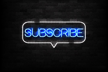 Vector realistic isolated neon sign of Subscribe logo for decoration and covering on the wall background. Concept of social media and SEO.