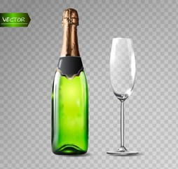 Champagne bottle and champagne glass on transparent background. Vector illustration.