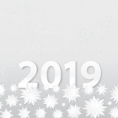 Origami snowflakes. 2019 New Year. Winter holidays card. Paper cut snow. Grunge background. Happy New Year poster. Christmas. Cutout. 3d paper cut effect.