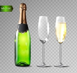 Champagne bottle and champagne glasses on transparent background. Vector illustration.