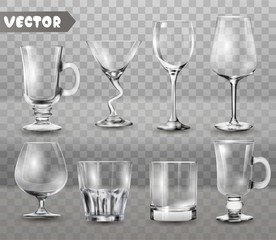 Set of transparent glasses goblets, cocktail glasses collection, vector illustration, icons.