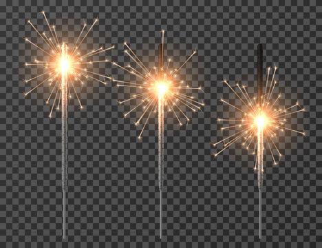 Bengal light. Christmas sparkler lights, diwali firework candle. Realistic bengal party lights vector set. Bengal and sparkler, firework and sparkle, glow burning illuminated illustration