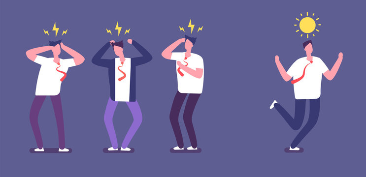Run from negative people. Happy business person running away of angry toxic coworkers. Unhappy office work environment vector concept. Illustration of running away, unhappy and bad colleague