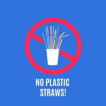 Stop using plastic straws. No plastic pollution campaign and packaging waste vector concept with disposable straws. Eco stop garbage, no pollution, ban and disposable illustration