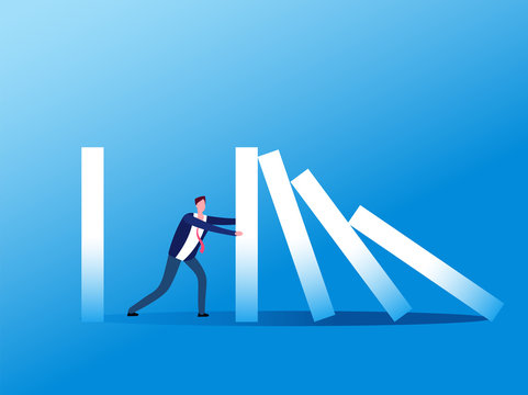 Domino effect. Businessman stopping falling domino. Crisis management, finance intervention and conflict prevention vector concept. Business management stop domino effect illustration