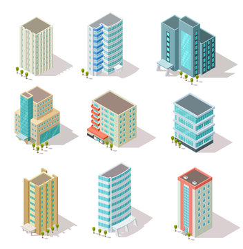 Isometric buildings. Business offices, apartment houses, skyscrapers for infographic city map, architectural landscape. 3d vector set. Illustration of skyscraper building, house city isometric
