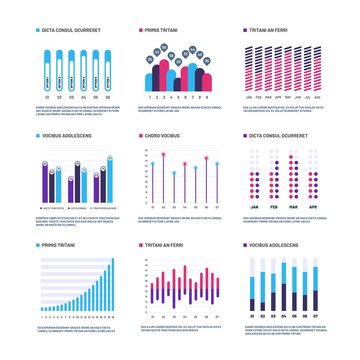 Infographics. Marketing graphs financial histogram, bar chart. Statistic charts and stock infocharts. Infographic vector set. Business chart for presentation, data and graph diagram illustration