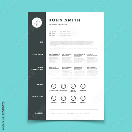 Professional Cv Resume With Vitae And Curriculum Vector Template