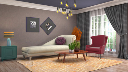 Interior of the living room. 3D illustration