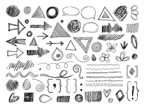 Doodle shapes. Pencil arrows, hand drawn textures and speech bubbles. Sketch borders and marks isolated vector set. Illustration of doodle drawing sketchy, hand-drawn bubble and pointer