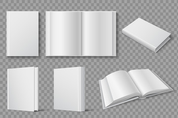 Book mockup. Blank white closed and open books. Textbooks and brochures isolated vector template. Cover book, white textbook and brochure, open paperback illustration