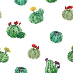 Seamless Pattern With Watercolor Cactuses On White Background