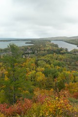 Panoramic view overlooking Copper Harbor in Upper Peninsula of Michigan during Fall season