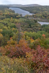 Panoramic view of Copper Harbor in Upper Peninsula of Michigan in Autumn