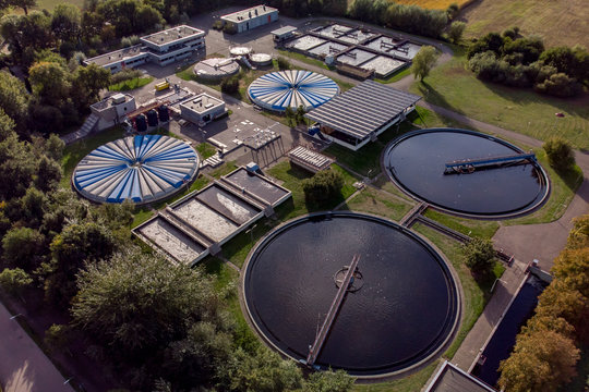 Drink water cleaning facility in The Netherlands seen from a high vantage point