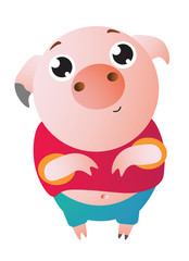 A very cute pig with big eyes asks for something. Vector illustration. Symbol of the new year 2019 Isolated on transparent background. Excellent for the design of postcards, posters, stickers etc.