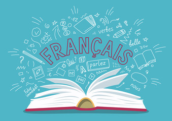 """Francais. Translate: """"French"""". Open book with language hand drawn doodles and lettering. Language education vector illustration."""