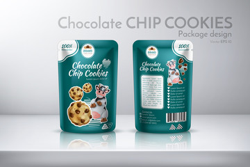 Chocolate chip cookie. Concept for packaging design. Realistic Vector Illustration