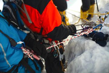 Foto op Aluminium Alpinisme Gear and equipment climbers closeup. Tilt-shift effect.