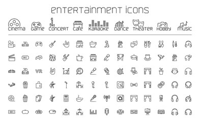 thin line entertainment icons set on white background