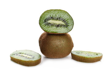 Kiwi fruit slices isolated on white background