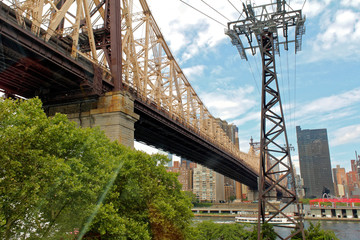 New York, USA - August 6, 2014: Queensboro bridge viewed from Roosevelt Island Tramway