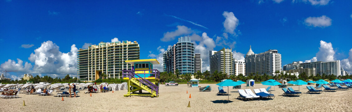 Miami beach, Florida, USA - July 16, 2016: Colorful Lifeguard Tower in South Beach