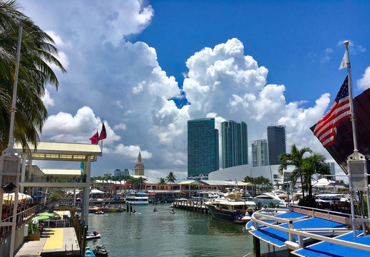 Miami beach, Florida - July 16, 2016: View of the Marina in Miami Bayside with modern buildings and skyline in the background