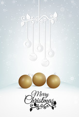Vector of  composite image Merry Christmas, ball paper art style, gold ball