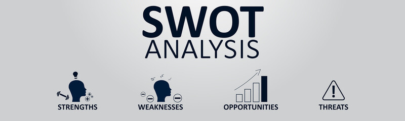 SWOT Analysis Banner Concept. Strengths, Weaknesses, Opportunities and Threats of the Company. Vector illustration with Icons and Text.