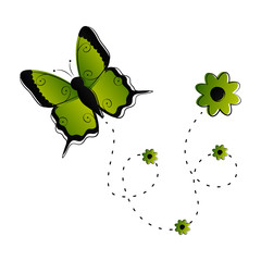 Cute butterfly flying icon. Vector illustration design