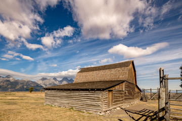 Mormon Barn under a big sky with Tetons in the background