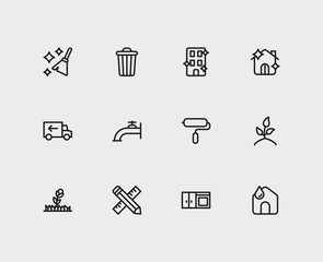 Hygiene icons set. Water crane and hygiene icons with moving, blossom and home. Set of fresh for web app logo UI design.