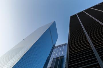New York City / USA - AUG 22 2018: World Trade Center exterior reflection in Lower Manahttan