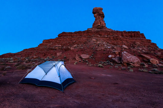Tent and camping at butte and monument in Valley of the Gods in Southeast Utah