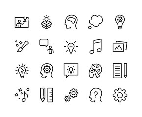 Simple Set of Creativity Related Vector Line Icons. Contains such Icons as Inspiration, Idea, Brain, Teacher, Music, Lamp, Gears, Bubble, Draw, Photo and more. Editable Stroke. 48x48 Pixel Perfect