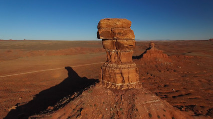 Orange butte and monument in Valley of the Gods in Southeast Utah