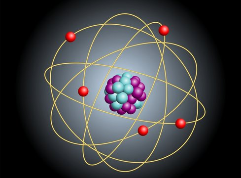 Vector illustration of elementary particles in atom. Physics concept.