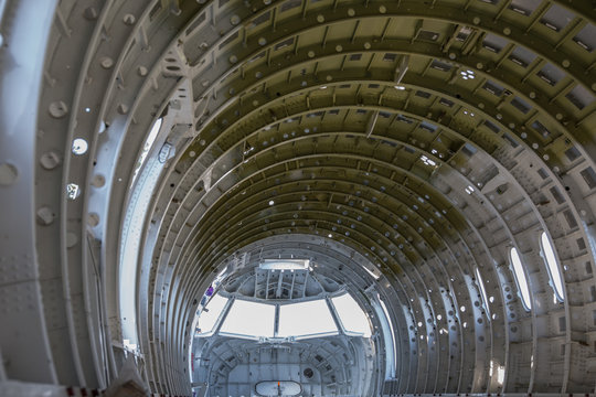empty airplane airframe / fuselage without any equipment and no panels installed