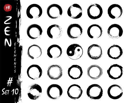 Enso zen circle set elements . Ink grungy watercolor pattern painting design . White isolated background . Vector illustration