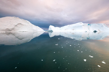 Iceberg reflection in Disko Bay, Greenland, UNESCO World Heritage Site