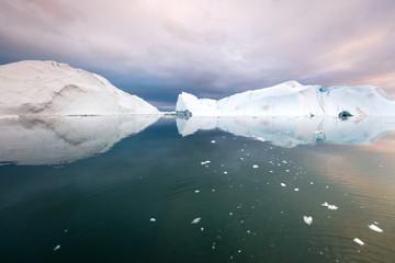 Iceberg reflection in Disko Bay, Greenland, UNESCO World Heritage Site