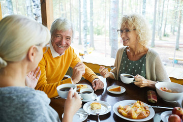 Happy senior couple looking at their friend during conversation by cup of tea in cafe