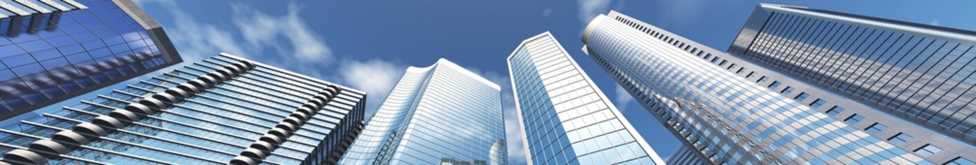 Wall Mural - Skyscrapers against the sky, Beautiful view from below on the modern buildings, 3d rendering