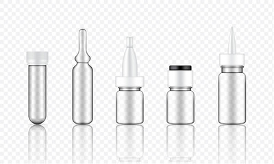 Mock up Realistic Transparent Cosmetic Serum, Ampoule, Oil Dropper Bottles Set for Skincare Product Background Illustration