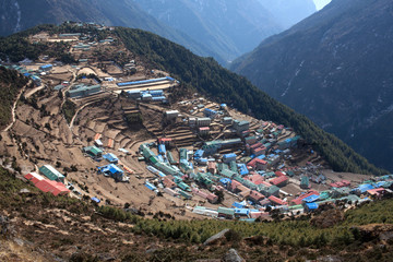 Namche Bazaar view from above in Sagarmatha National park, Nepal Himalayas