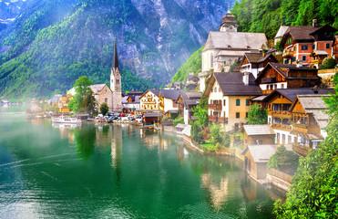 Landmarks of Austria - emerald lake and beautiful village Halstatt in Austrian Alps Wall mural