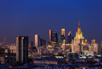 Moscow, Russia, view of Moscow State University and Moscow City business center, at sunset.