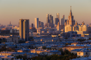 Moscow, Russia, view of Moscow State University and Moscow City business center, at sunset